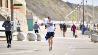 Joggers on Boscombe sea front, 29 March