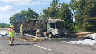 The lorry that caught fire on the M4 in Wiltshire