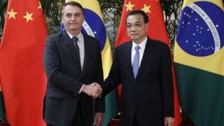 Bolsonaro e o premiê chinês, Li Keqiang