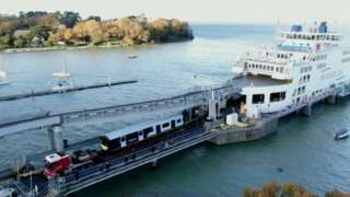 new train arriving by ferry at Fishbourne