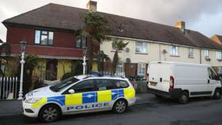 Police parked outside house in Viole Avenue, Stanwell