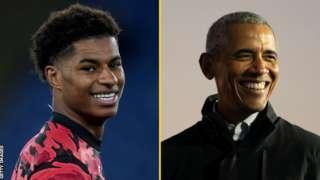 Ifoto yahujwe ya rutahizamu Marcus Rashford n'uwahoze ari Perezida w'Amerika Barack Obama