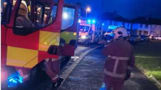 fire officers at scene of coleraine fire