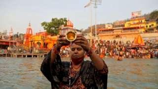 A devotee at Kumbh Mela