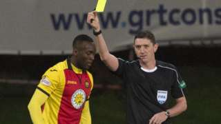 Ade Azeez was booked by referee Craig Thomson