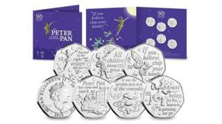 Peter Pan coins and commemorative sleeves