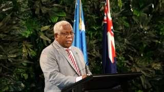 Solomon Islands leader Rick Houenipwela speaking in New Zealand in June