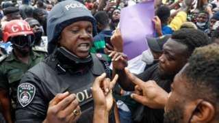 Demonstrators in Lagos