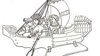 """Copia de 1912 de un dibujo que apareció en una de las varias publicaciones de """"Los viajes de Sir John Mandeville""""."""