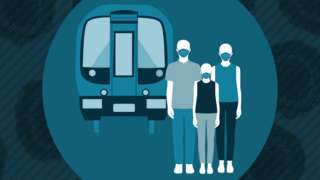 Graphic showing silhouette of family with face coverings with train behind them