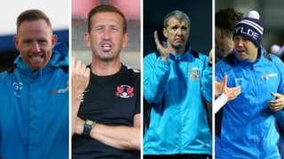 From left: AFC Telford manager Gavin Cowan. Orient boss Justin Edinburgh, Stockport manager Jim Gannon and Fylde boss Dave Challinor