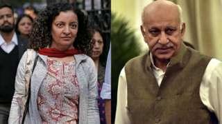 L-R Priya Ramani, MJ Akbar