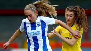 Aileen Whelan of Brighton and Hove Albion Women tackles with Hannah Blundell of Chelsea Women
