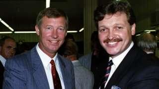 Michael Knighton and Sir Alex Ferguson in 1989