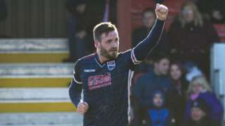 Ross County's Jason Naismith celebrates scoring against Hearts