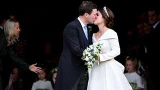 Princess Eugenie kisses her new husband