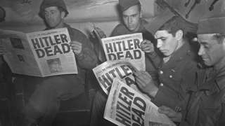 US troops read about Adolf Hitler's death in Stars and Stripes