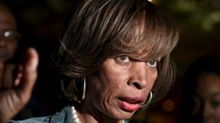 Catherine Pugh is pictured speaking near City Hall in Baltimore 2 May, 2015