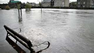 The River Conwy burst its banks in Llanwrst
