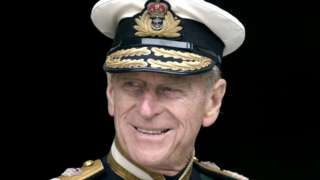 Prince Philip in naval uniform at St Paul's Cathedral for a service to mark the Golden Jubilee