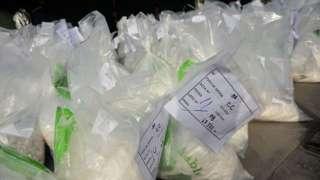 Des sacs contenant des drogues saisis par le ministère péruvien de l'Intérieur.