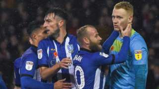 Sheffield Wednesday celebrate Cameron Dawson's penalty save
