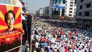 محتجون تجمعوا في ماندالاي