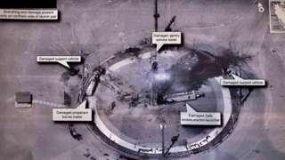 Imagen de una explosión en una plataforma de lanzamiento espacial compartida por Trump.