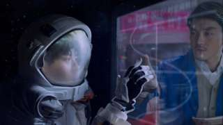 A photo by Cao Fei showing an astronaut touching a glass pane with a person on the other side