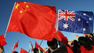 A Chinese and an Australian flag