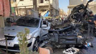 Aftermath of car bombing in rebel-held town of al-Bab, Syria (6 October 2020)