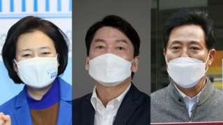 왼쪽부터 서울시장 보궐선거에 출마한더불어민주당 박영선 후보, 국민의당 안철수 후보, 국민의힘 오세훈 후보