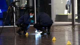 Detectives at the scene in The Hague, 29 November
