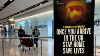 Coronavirus sign at Heathrow