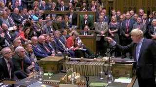 Boris Johnson addressing Parliament