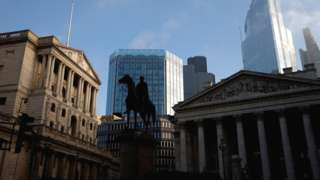 A general view shows The Bank of England and the City of London financial district