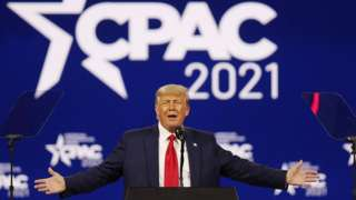 Donald Trump speaks at the Conservative Political Action Conference in Orlando, Florida, February 28, 2021
