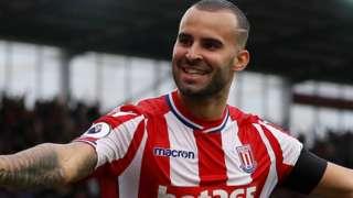 Stoke scorer Jese celebrates