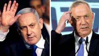 File images of Benjamin Netanyahu and Benny Gantz