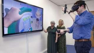 Rhys Morris Lecturer using VR kit