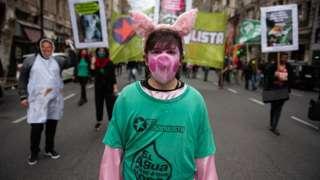 连日来,阿根廷多个城市都爆发了反对与中国签订猪肉生产协议的抗议。