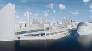 CGI image of the proposed terminal with a sloping roof design