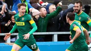 Tom Crawford celebrates Notts County's first goal