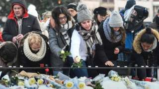 Hundreds gathered in Strasbourg to honour the victims on Sunday