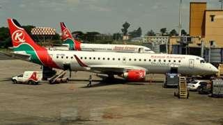 Diyaaradda Kenya Airways xilli ay ka duuleysay garoonka Jommo Kenyatta 17-kii bishii June 2019