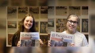 Joint editors Tash Mosheim and Imogen Usherwood with the paper