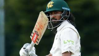 Nottinghamshire batsman Haseeb Hameed celebrates reaching his half-century against Derbyshire