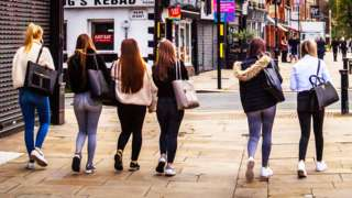 Young women walking