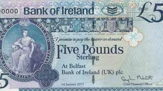 Example of a Northern Ireland paper £5 banknote