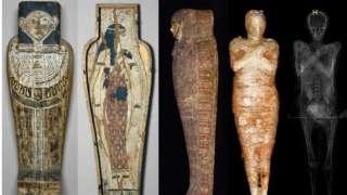 Imagem mostrando digitalizações e visualizações da múmia e do invólucro